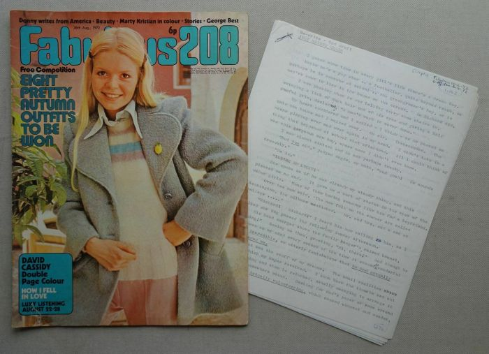 Fabulous 208 cover dated 26th August 1972, with original script