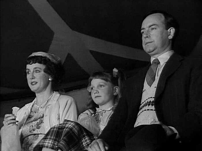 Janet Hargreaves (Mum), Kathryn Ludlow (Girl) and David Ashford (Dad), in a scene from the Doctor Who story The Greatest Show in the Galaxy (1988). Image: BBC