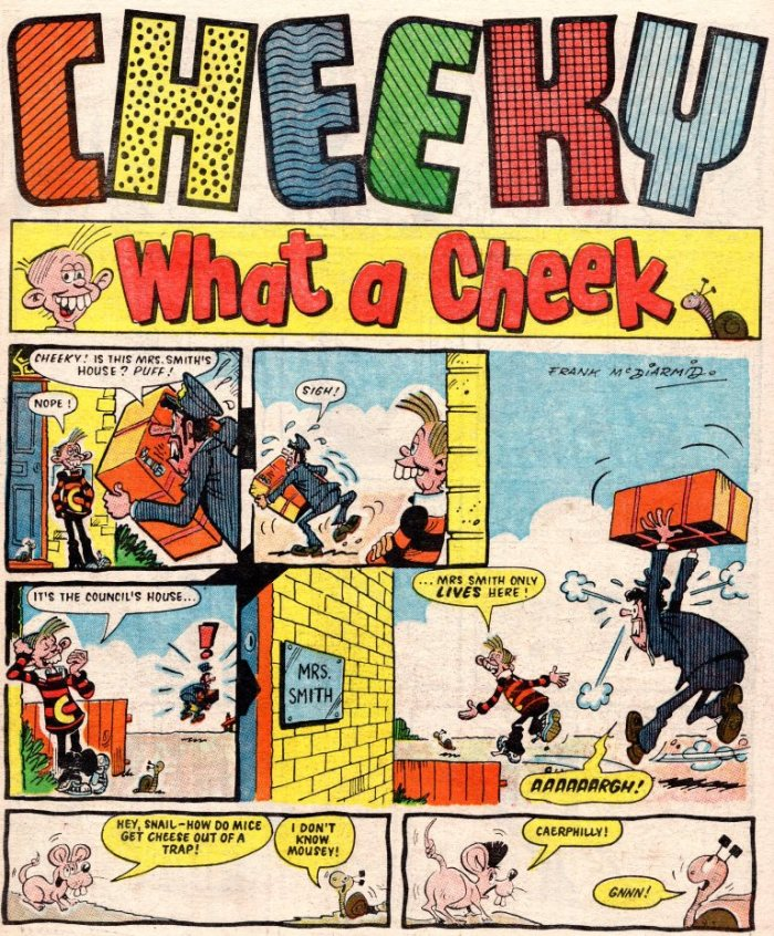 The cover of a Cheeky pullout included in Whoopee, art by Frank McDiarmid. Via Kazoop