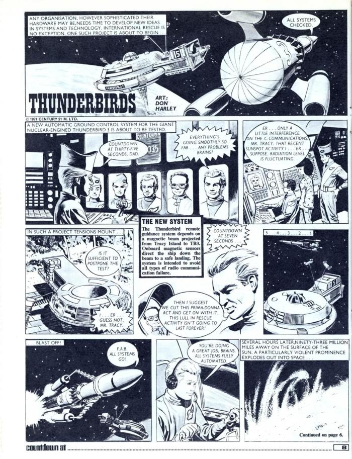 "The opening page of ""Thunderbirds"" from Countdown No.1, art by Don Harley"