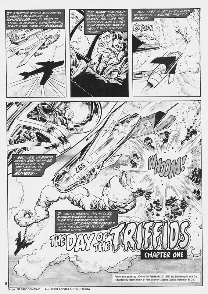 """The opening page of """"Day of the Triffids"""" from Marvel's Unknown Worlds of Science Fiction -#1"""