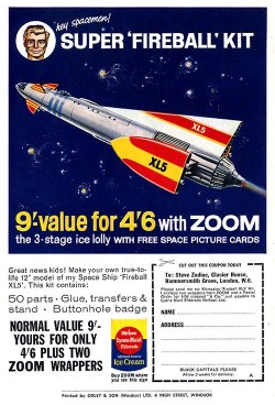 The Lyons Maid Kitmaster Fireball Xl5, as advertised in a 1963 issue of Airfix magazine