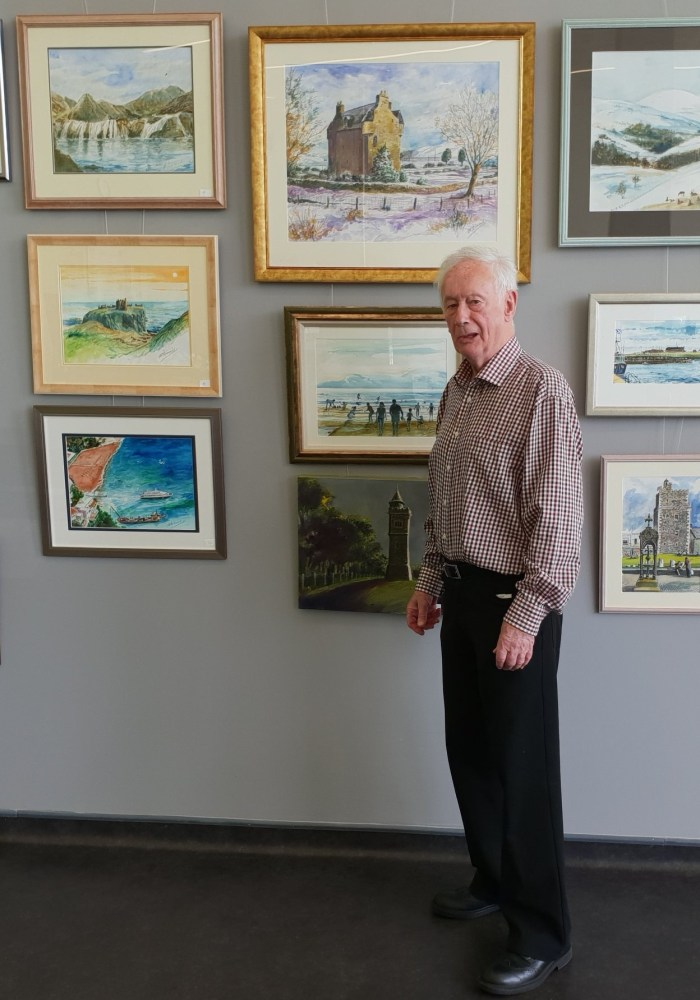 Frank McDiarmid at his exhibition at The Pavilion @ Stracathro café in 2019. Photo: NHS Tayside