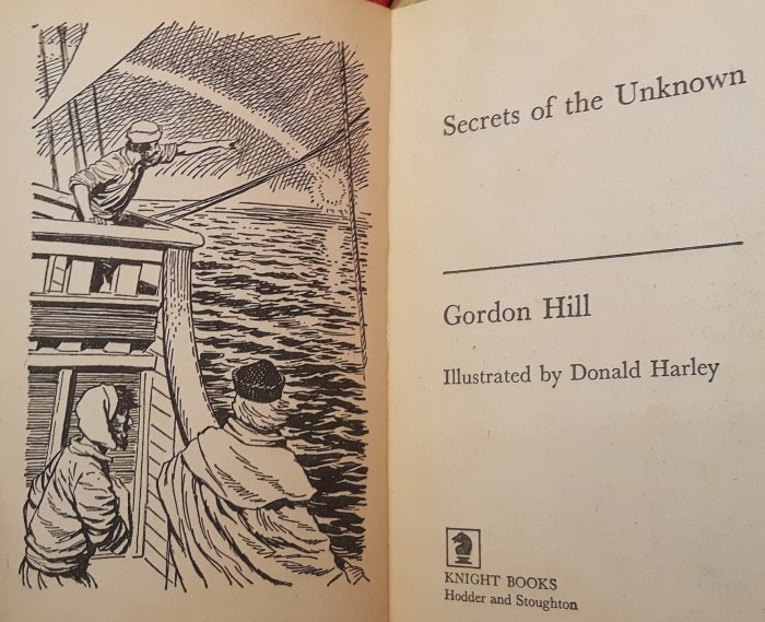 The frontispiece of Secrets of the Unknown by Gordon Hill, illustrated by Don Harley