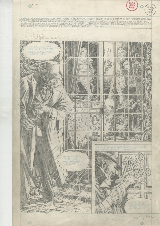 """The opening page of """"Haunted Painting"""" - a six page horror story produced for DC comics in the 1960s. Art by Jack Katz"""