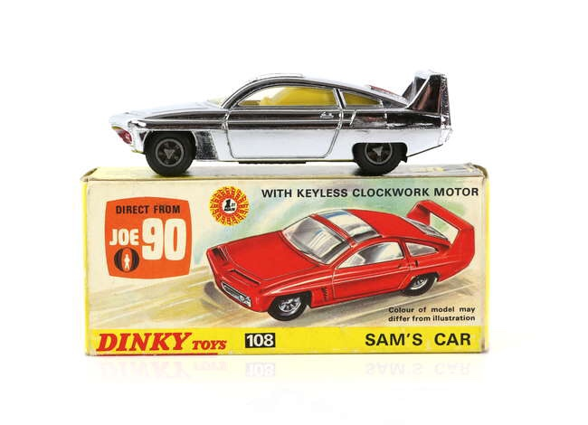 Dinky Toys - No. 108, Sam's Car from Joe 90, silver finish die cast model with lapel badge attached to inner tray. Image: Ewbanks