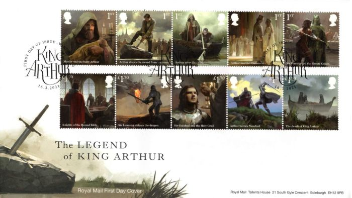 """Royal Mail """"The Legend of King Arthur"""" stamps by Jaime Jones - First Day Cover"""