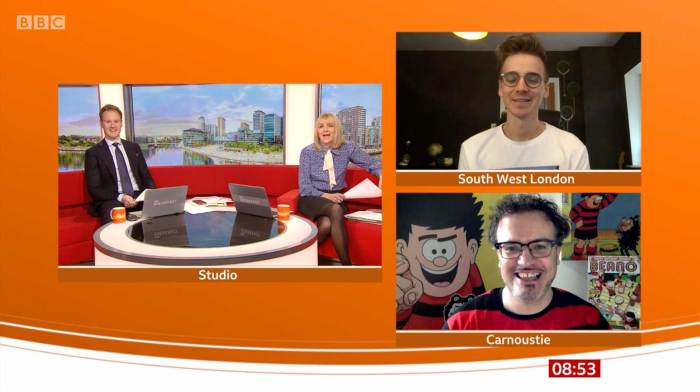 BBC Breakfast - 17th March 2021 Dennis at 70 with Joe Sugg and Mike Stirling Segment