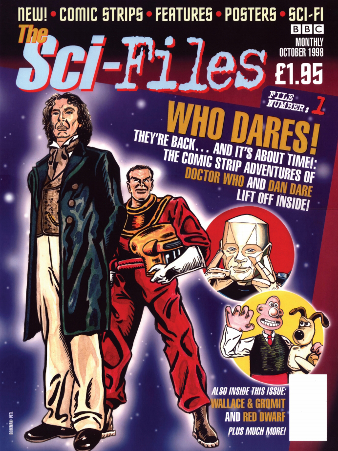 """Matt Bookman's second cover design for """"The Sci-Files"""", featuring Doctor Who, Dan Dare and Red Dwarf"""