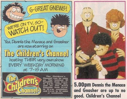 The first Dennis the Menace and Gnasher animated series was trailed in The Beano in December 1990
