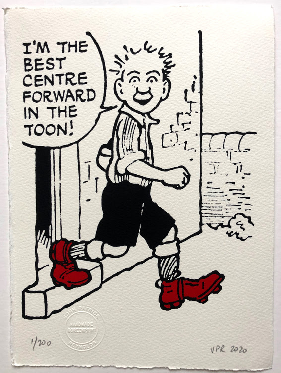 Oor Wullie steps out in his footy gear. No1. (26x19cms)