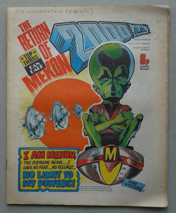 2000AD  Prog 12, cover dated 14th May 1977, featuring the Mekon