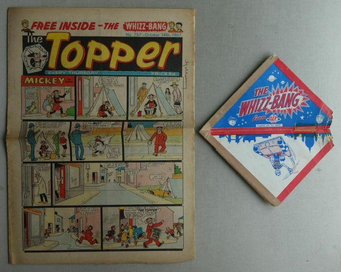"""Topper No. 767, cover dated 14th October 1967, with free """"Whizz Bang"""" gift – clearly much used!"""