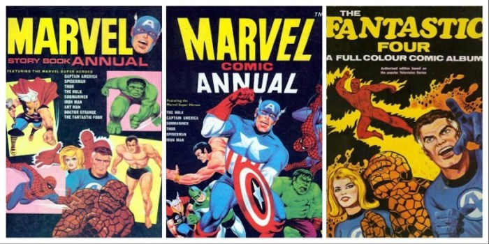 Some UK annuals featuring the Fantastic Four. With thanks to Lew Stringer