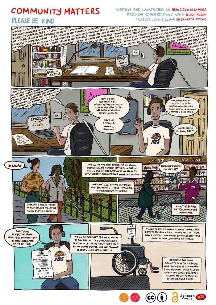 City, University of London's Dr Ernesto Priego collaborates with blind illustrator in response to COVID-19 accessibility appeal. Created by Dr Ernesto Priego, Francisco de la Mora and Hugh Huddy
