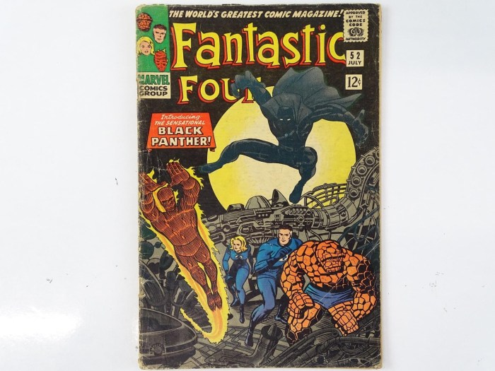 Fantastic Four #52  features the first appearance of Black Panther, one of the hottest and significant comic characters in recent memory with Inhumans, Wyatt Wingfoot appearances. Jack Kirby cover and interior art