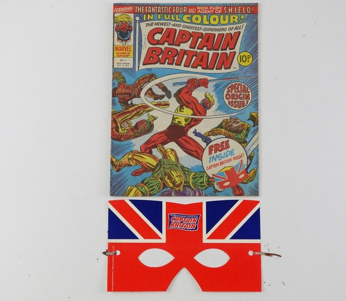 Captain Britain #1 - (1976 - BRITISH/MARVEL - UK Price) - featuring the Origin and First appearance of Captain Britain + Free gift included (PUNCHED MASK) - Larry Lieber cover with Herb Trimpe interior art with Chris Claremont story
