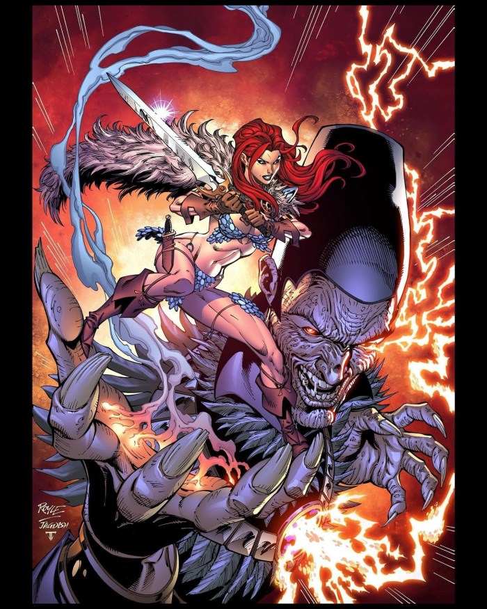 Red Sonja #20, inked by Jagdish Kumar and coloured by Juan Fernandez