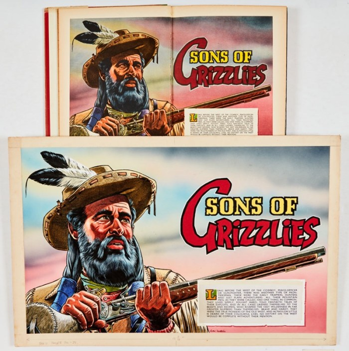 Sons of Grizzlies original double page colour artwork painted and signed by Denis McLoughlin (1960) for The Buffalo Bill Annual No 12 pgs 30-31. Bright, fresh poster colour on board. 22 x 15 ins