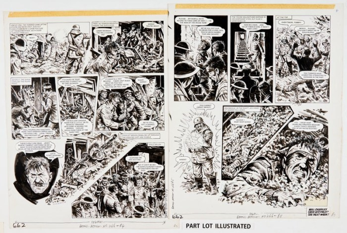 """Charley's War: four original artworks by Joe Colquhoun, signed to Page 4 , as published in Battle Action 266 (1979). October, 1916. """"Operation Wotan"""" had reached its climax with the Judgement Troopers occupying 'Downing Street' in the third British line. Below, in a deep ex-German dugout known as 'Ten Downing Street', Charlie Bourne and his comrades were trapped!. Indian ink on cartridge paper. 17 x 15 ins each (4)"""