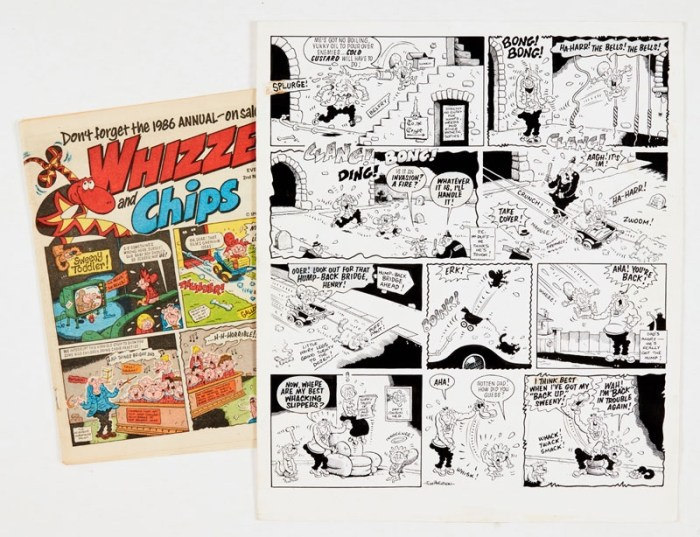 Sweeny Toddler original artwork (1985) drawn and signed by Tom Paterson for Whizzer and Chips pg 2 (2nd Nov 1985), with original comic
