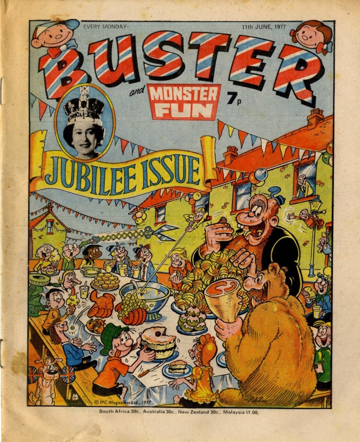 Rob Lee's cover for the Silver Jubilee issue of Buster, cover dated 11th June 1987, via Great News For Readers. Copyright Rebellion Publishing Ltd.