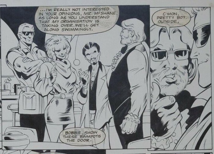 """John McShane and Bob Napier of Glasgow's AKA Comics cameo in the Captain Britain story """"Should Auld Acquaintance"""" written and drawn by Alan Davis, inked by Mark Farmer and letters by Annie Halfacree (Annie Parkhouse)"""