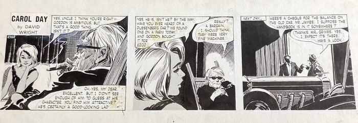 Carol Day - Buying the Duesenberg - original strip by David Wright