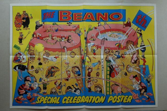 """Beano No. 2402, cover dated 30th July 1988, """"50th Birthday"""" celebration poster"""