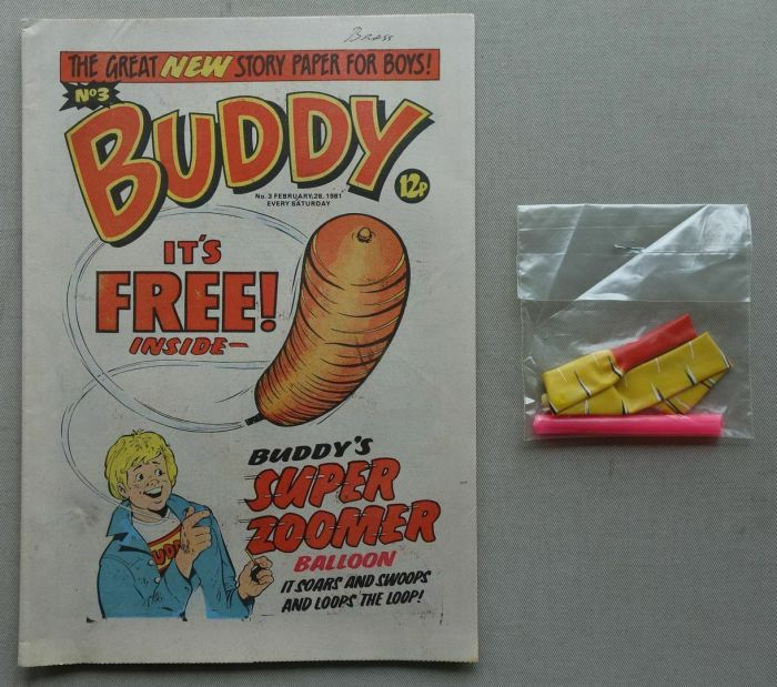 """Buddy No. 3, cover dated 28th February 1981, with free """"Zoomer Balloon"""" gift, unused"""