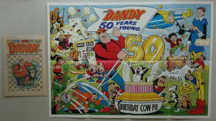 Dandy No. 2402, cover dated 5th December 1987, with free, giant 50th Birthday Poster