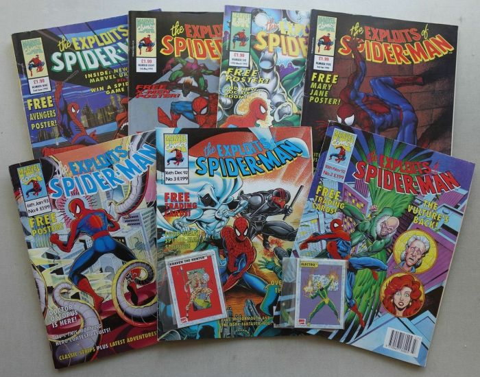 Marvel UK's The Exploits of Spiderman comic #2-9 (1992-93) - all with free gifts