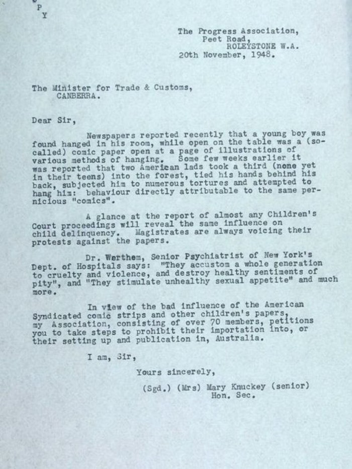 This 1948 letter to an Australian politician about a boy's suicide similar to the comic found underneath him is some of the new information in HORROR: the first time America's paranoia infected the world by Phil Hore