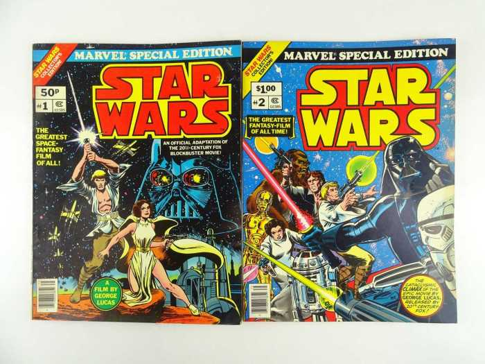 """STAR WARS: MARVEL TREASURY EDITIONS # 1 & 2 (2 in Lot) - (1977 - MARVEL - US Price & UK Price Variant) - Full colour large format special Treasury Editions presenting the comic book adaption of George Lucas' blockbuster sci-fi movie """"Star Wars"""""""
