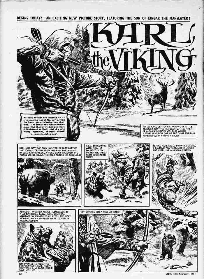 """""""Karl the Viking"""" from Lion, issue 463 cover dated 18th February 1961"""