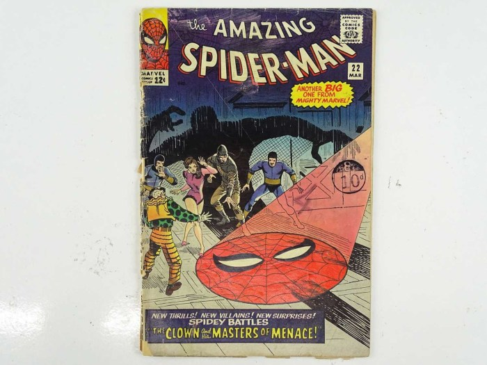 AMAZING SPIDER-MAN #22 (1965 - MARVEL - UK Price Variant) - First appearance of Princess Python + The Ringmaster, Circus of Crime appearances - Steve Ditko cover and interior art