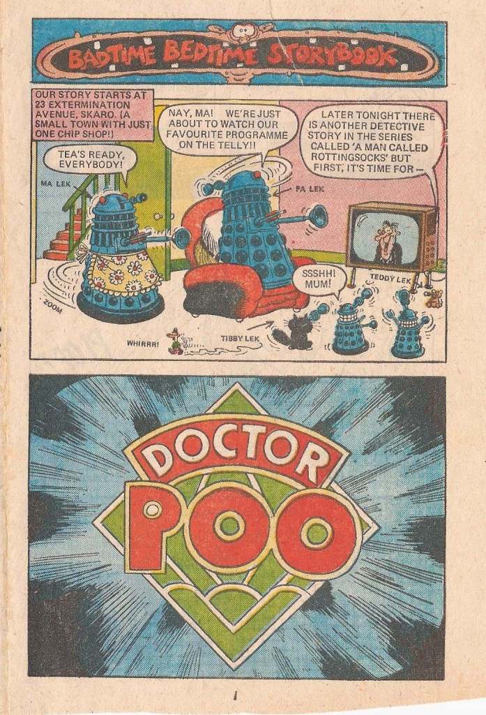 """Daleks in the spotlight in """"Doctor Poo"""" edition of the Badtime Bedtime Books that featured in Monster Fun. Copyright Rebellion Publishing.Daleks copyright Terry Nation   BBC"""