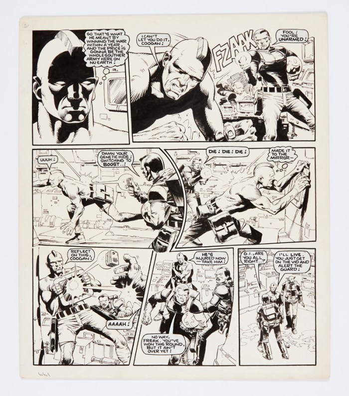 Rogue Trooper original artwork (1984) by Cam Kennedy for 2000 AD prog 376 pg 29. Indian ink on board. 16 x 14 ins