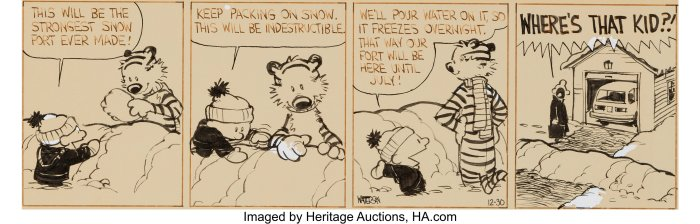 Bill Watterson Calvin and Hobbes Daily Comic Strip Original Art dated 12-30-87 (Universal Press Syndicate, 1987). Original art from this series is about as rare as a talking tiger, or a good Snow Fort! In Heritage Auctions' entire history, we have only sold nine dailies from this series. The comic strip series was only two years old when this specific daily was released, and it was already a fan-favorite of the funny pages! The strip had earned Watterson the Reuben Award from the National Cartoonists Society in 1986.