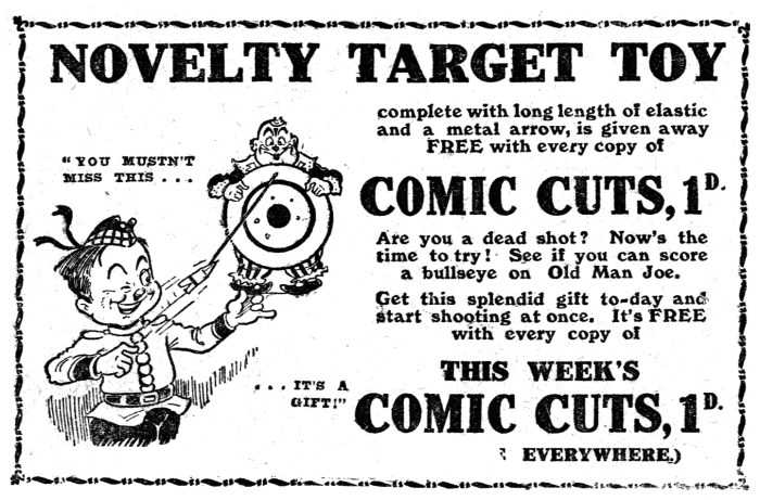 """An advertisement for Comic Cuts promoting  a forthcoming """"boots issue"""" with free gift, published in October 1926. Image: The Peter Hansen Collection"""