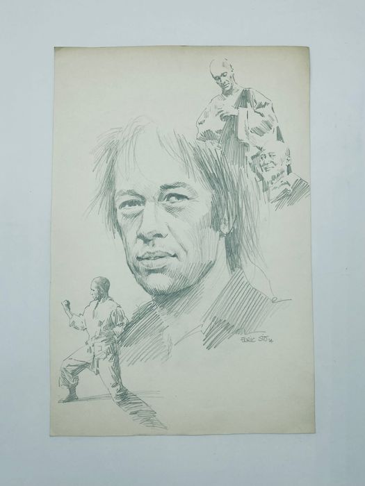 """A curious original pencil drawing by innovative Spanish comic artist Enric Sió, featuring the main characters from the television series """"Kung-Fu"""", starring David Carradine. Sio drew some """"Battler Briton"""" stories for Fleetway in the 1960s"""