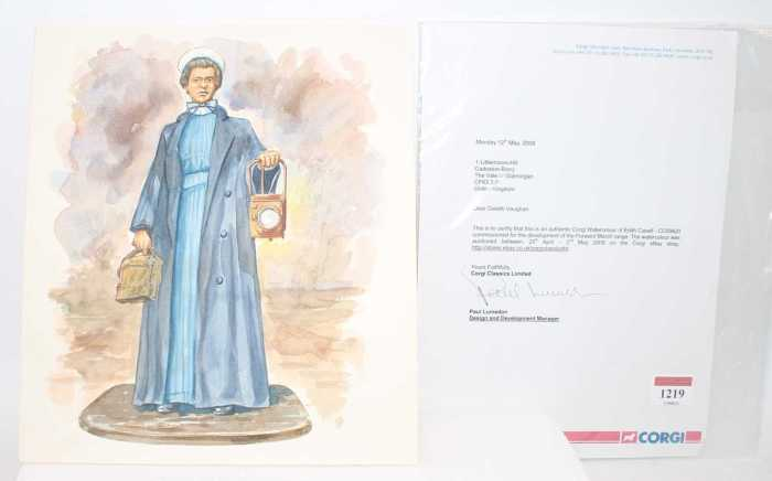 A Corgi Toys original watercolour of Edith Cavell (CC59420) commissioned for the development of the Forward March Corgi Toys range, watercolour on card, supplied with signed letter from Paul Lumsdon (Design & Development Manager) confirming that this item was auctioned on the Corgi Ebay shop between 25th April to 2nd May 2008, rare example