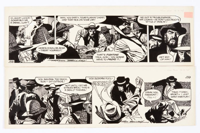 Garth: 'The Angels of Hell's Gap' two original consecutive artworks (1975) drawn and signed by Frank Bellamy for the Daily Mirror 12/13 March 1975. Indian ink on board. 21 x 17 ins (x2)