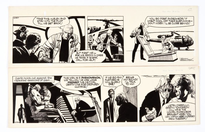 """Garth - """"The Wreckers"""" two signed original artworks (1973) by Frank Bellamy for the Daily Mirror 3/13 December 1973. Indian ink on board. 21 x 17 ins (2)"""