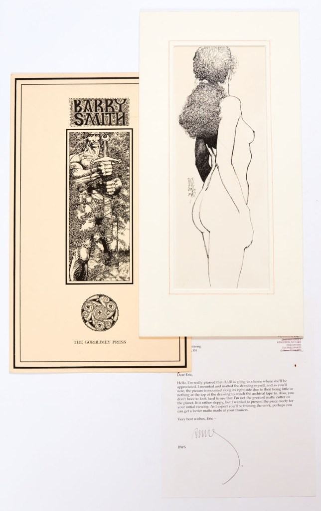 'Hair' original artwork drawn and initialled by Barry Windsor-Smith (1987) published in his book, Barry Windsor-Smith Opus Volume 2, with letter to prospective purchaser noting that 'I mounted and matted the drawing myself'. And Fantastic Islands illustrated folder. Artwork in matte frame 18 x 9 ins. Indian ink on paper