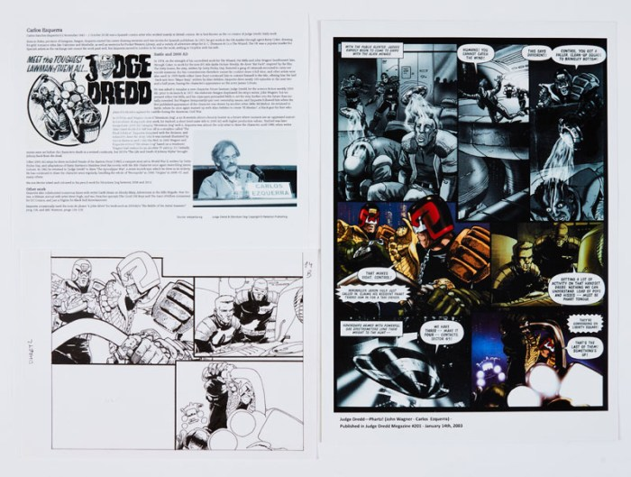 Judge Dredd - Phartz! (2003) original 3 panel artwork by Carlos Ezquerra for Judge Dredd Magazine 201 Jan 14 2003 with colour full page print of the relevant page and Ezquerra biography. Indian ink on paper. 11 x 7 ins