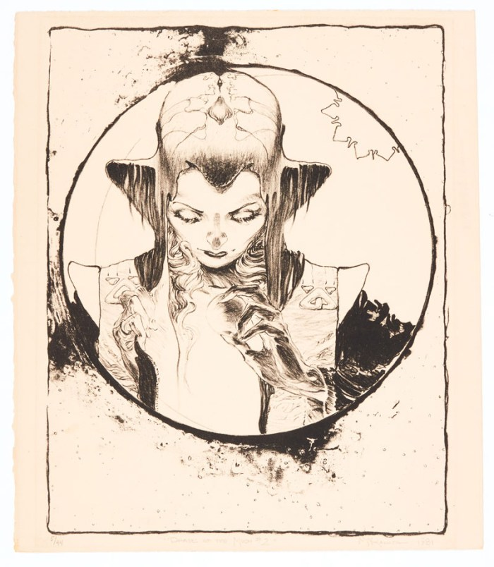 """Mike Kaluta Phases of the Moon #2 hand pulled lithograph No 5 of 44 signed in pencil 'Mike Kaluta 1982'. (Based on Kaluta's bonus plate from 'Children of the Twilight' portfolio 1979) 15 x 12"""""""