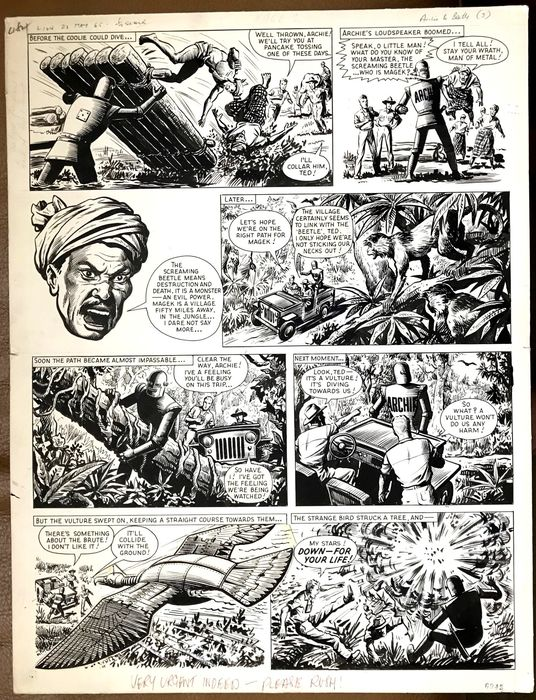 """A page from an episode of the """"Robot Archie"""" story """"The Screaming Beetle"""" for Lion (a """"rush job"""" as noted in the gutter, for the issue cover dated 22nd May 1965) - art by Ted Kearon"""