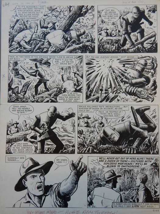 """Another page from an episode of the """"Robot Archie"""" story """"The Screaming Beetle"""" for Lion (a """"rush job"""" as noted in the gutter, for the issue cover dated 22nd May 1965) - art by Ted Kearon"""