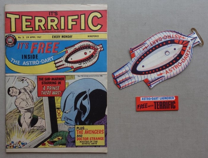 """Terrific No. 3, cover dated 29th April 1967 With Free """"Astro Dart"""" Gift"""